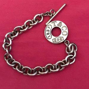 "Tiffany ""T & Co"" sterling toggle bracelet, EUC"